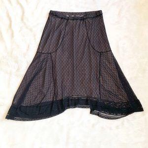 Studio M Black Lace Shark Bite Skirt size L